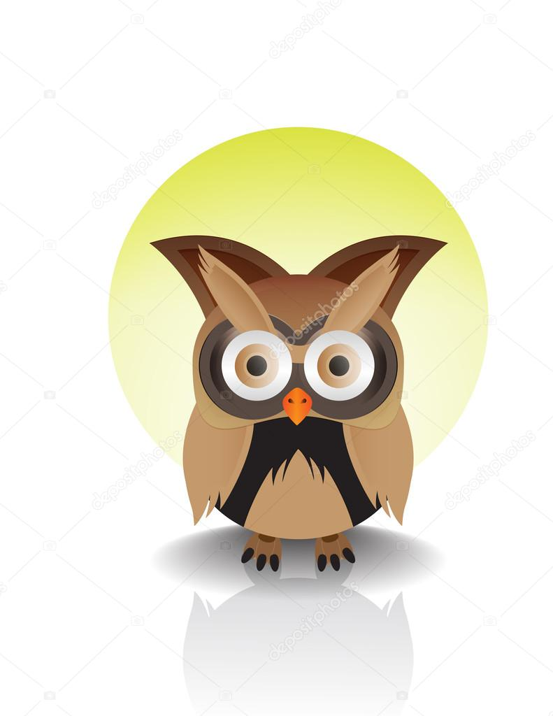 Vector image of an owl on sun backbround