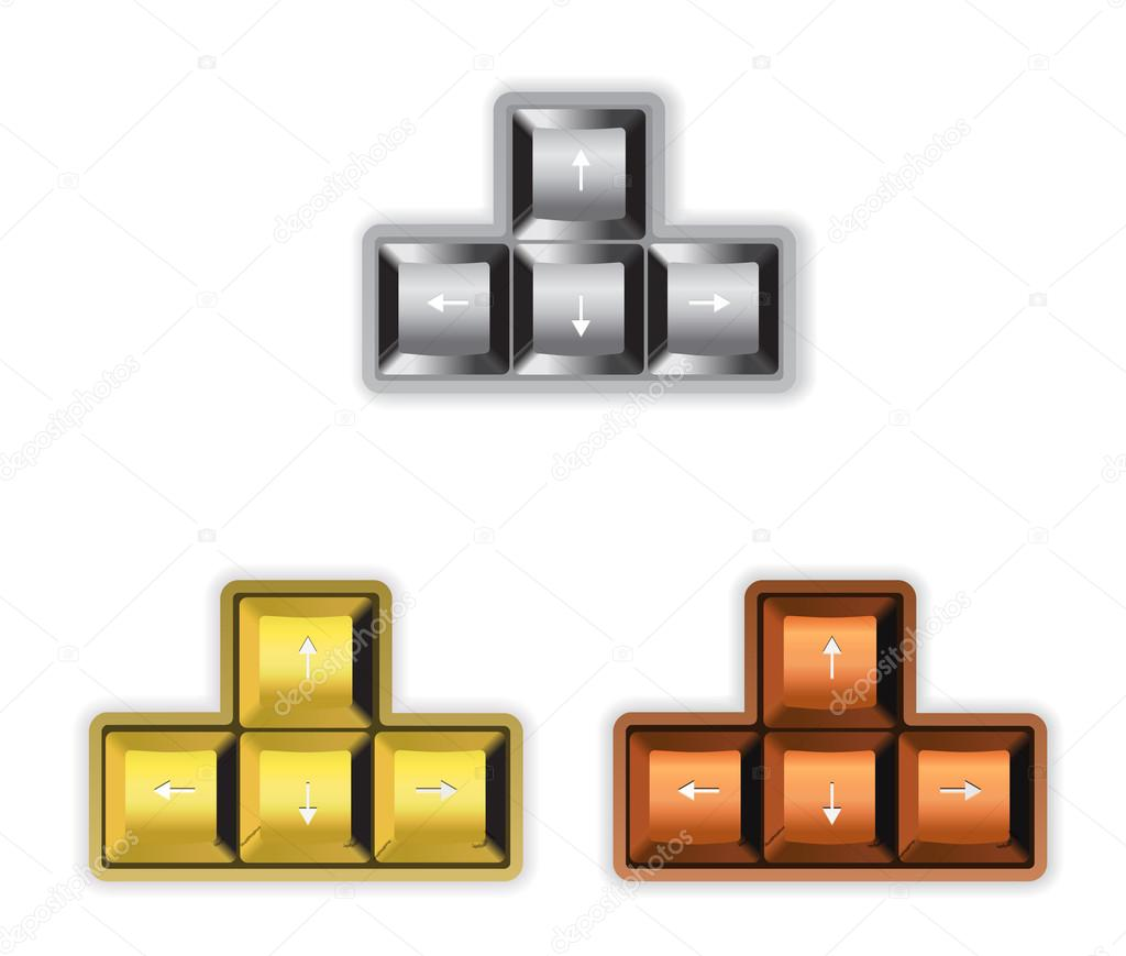 Arrow Keyboard With Gold Silver And Bronze Color Stock Vector