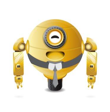 round golden robot laughing