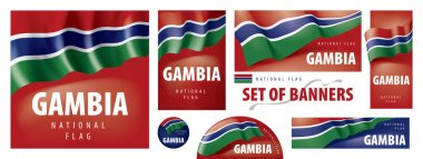 Vector set of banners with the national flag of the Gambia. icon