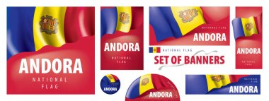 Vector set of banners with the national flag of the Andorra. icon