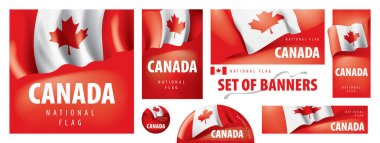 Vector set of banners with the national flag of the Canada. icon