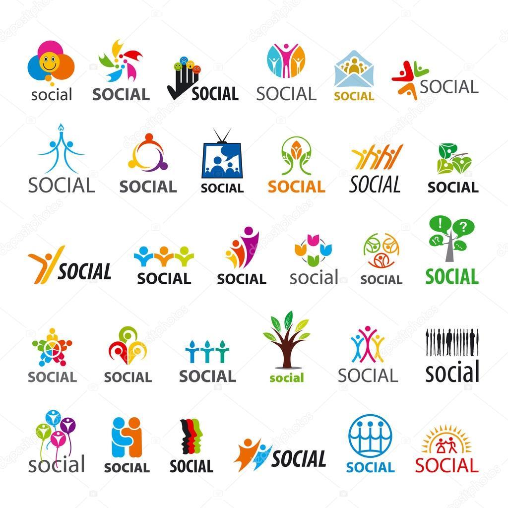 large set of vector logos social