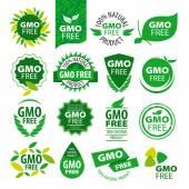 Fotografie Velká sada vektorové loga přírodních produktů bez GMO