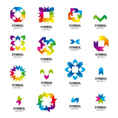 Big collection of vector logos abstract modules