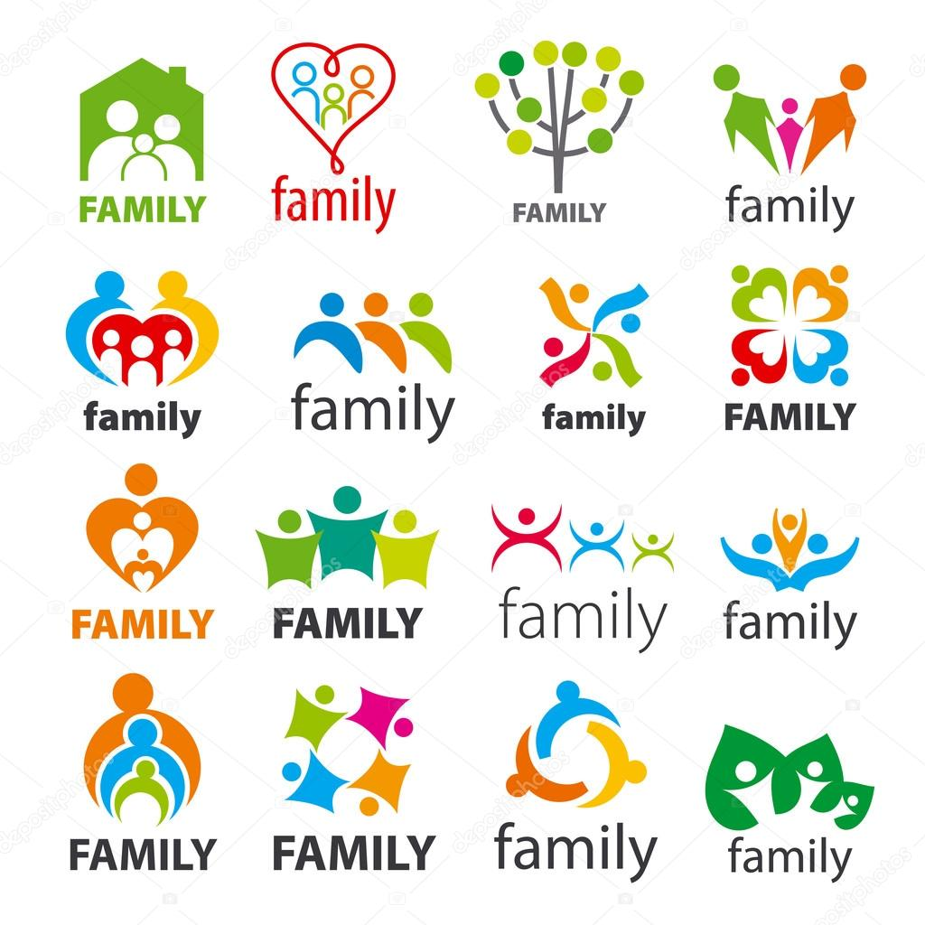 Large collection of vector logos family stock vector