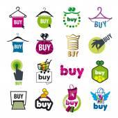 Velká sada vektorové loga pro nákup zboží