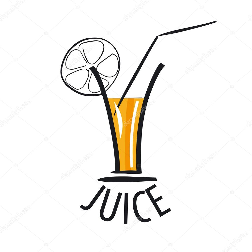 vector logo of fresh juice in a glass � stock vector