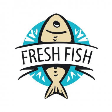 vector logo fresh fish in a circle and tape