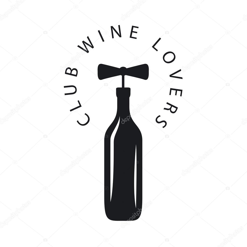 vector logo bottle of wine with corkscrew stock vector artbutenkov 69550637. Black Bedroom Furniture Sets. Home Design Ideas