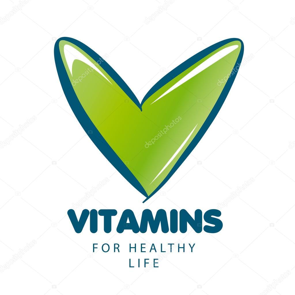 Vector Logo Vitaminas Con Tick Verde Vector De Stock Artbutenkov