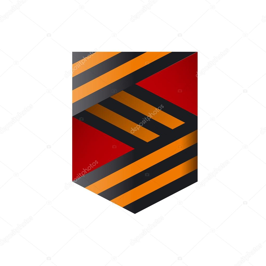 vector logo the ribbons in the form of shield