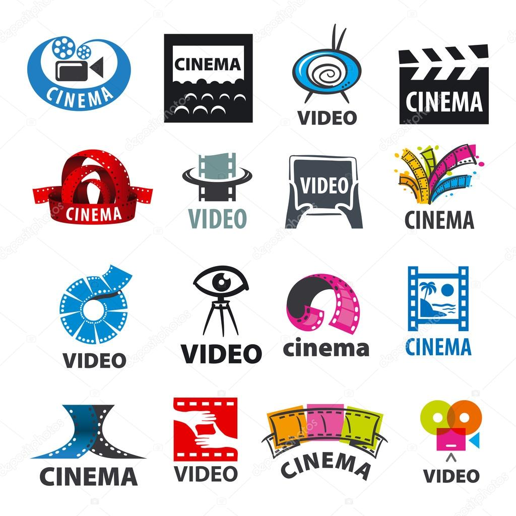 Large set of vector logos for video production stock vector