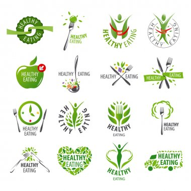 Large set of vector logos healthy eating