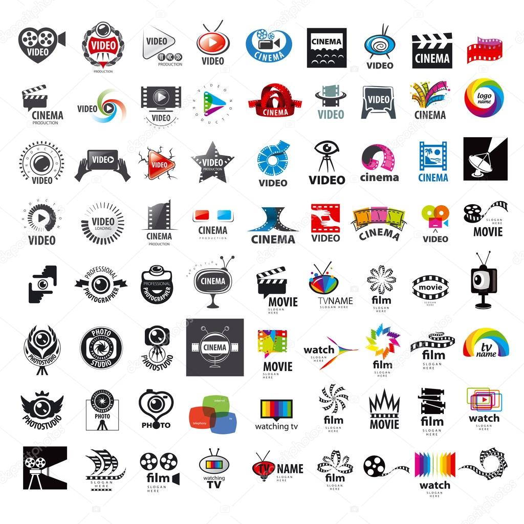 Large set of vector logos photo and video production stock vector