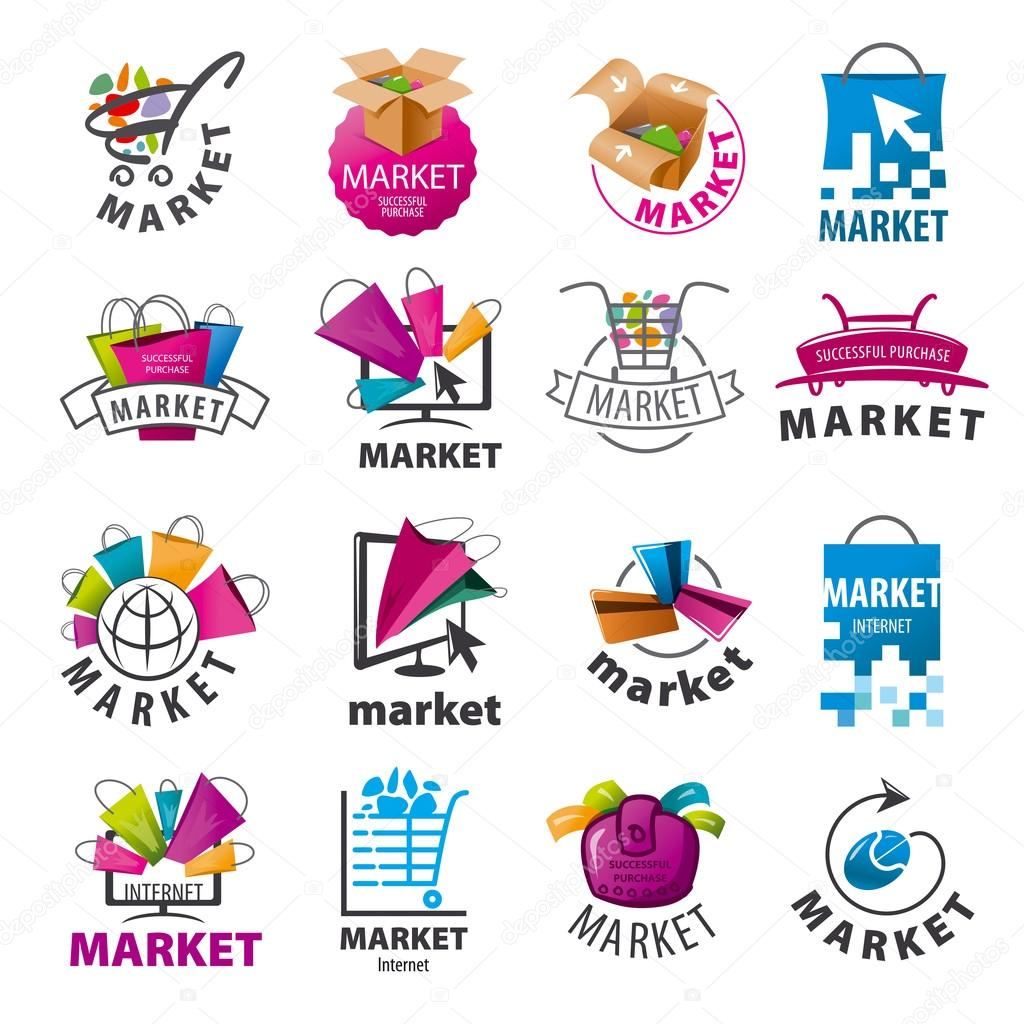 biggest collection of vector logos for market � stock