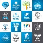 Fotografia grande collezione di scuola logo vettoriale