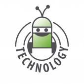 Fotografie Vektor-Logo-Roboter mit zwei Antennen