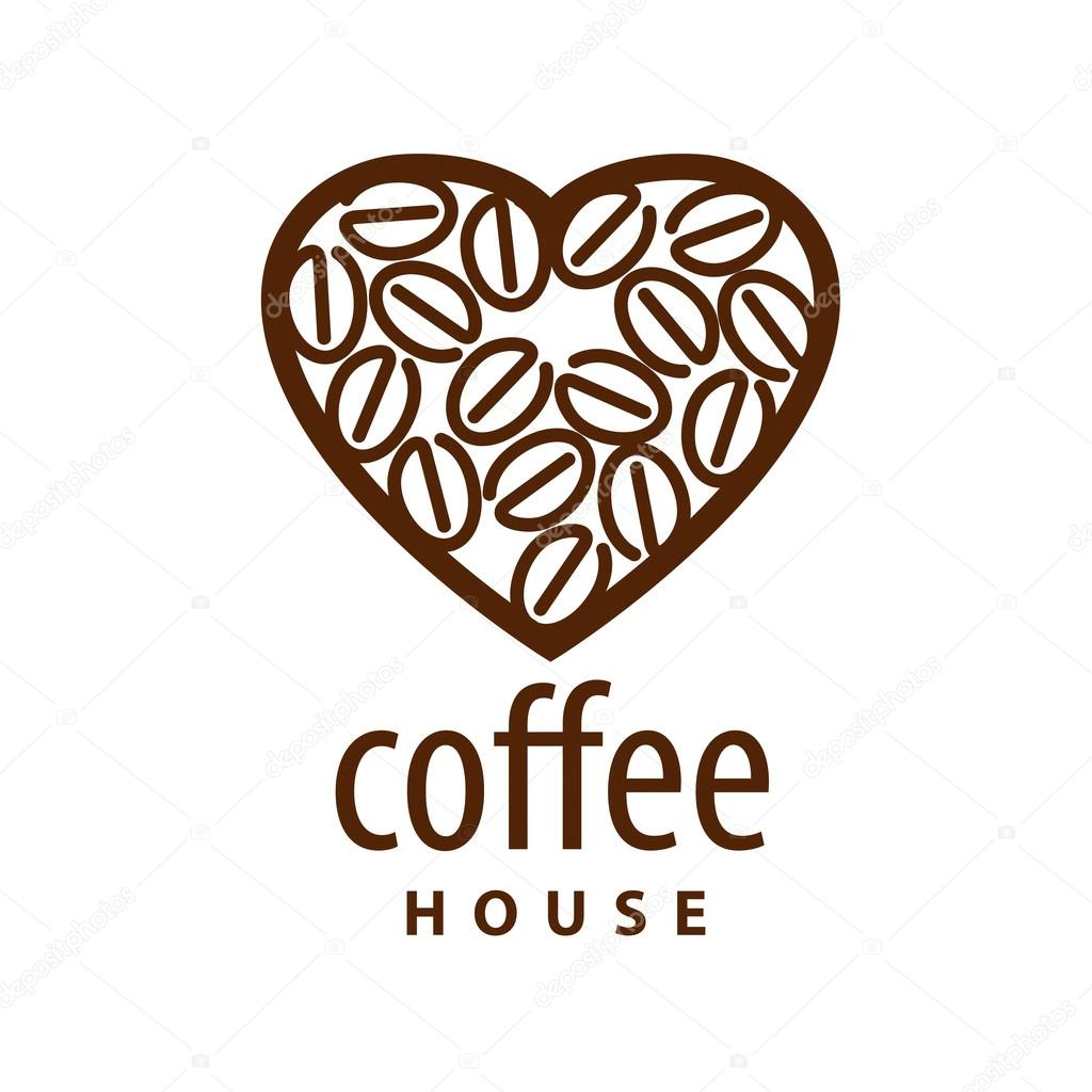 vector logo coffee beans in the shape of heart � stock