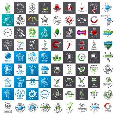 large set of vector logos new technologies
