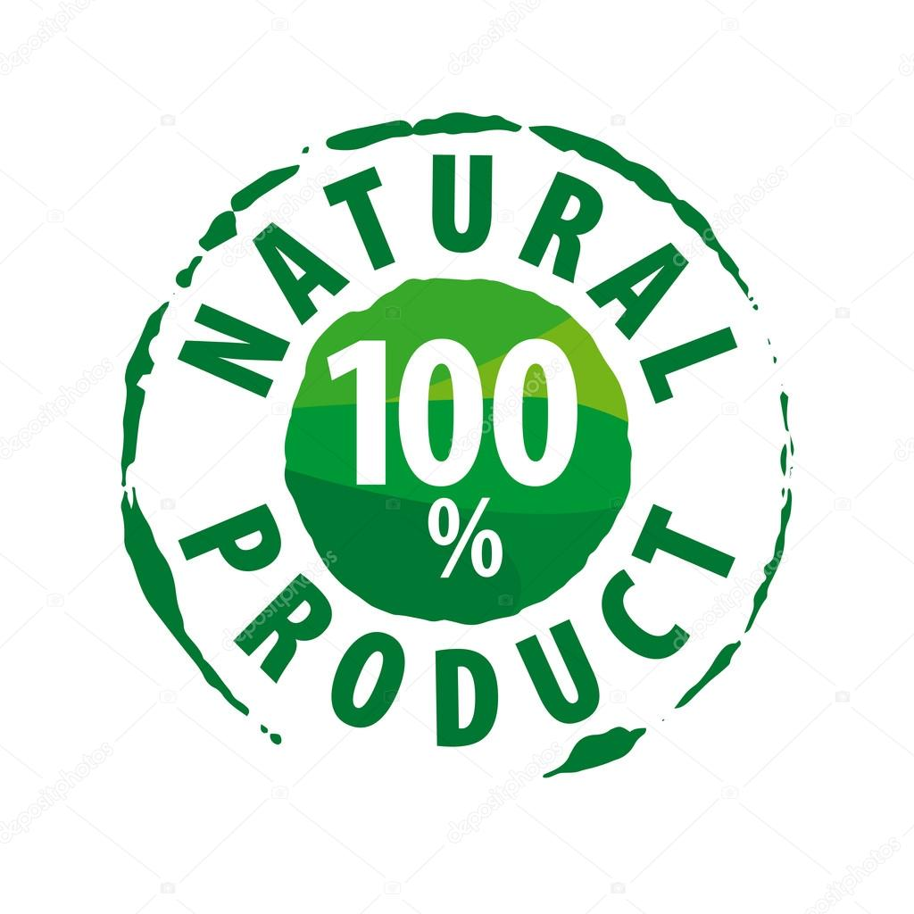 Round vector logo for 100% natural products