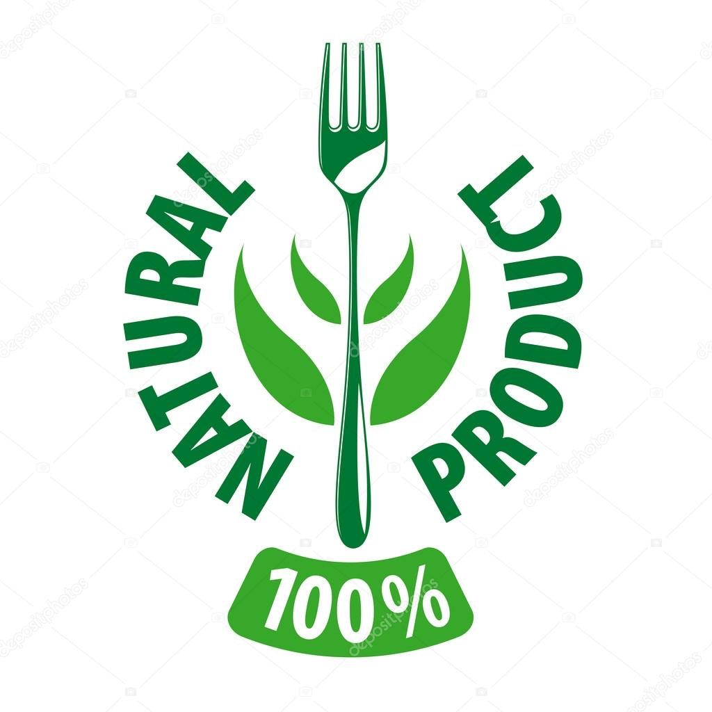 vector logo fork and leaves for natural products