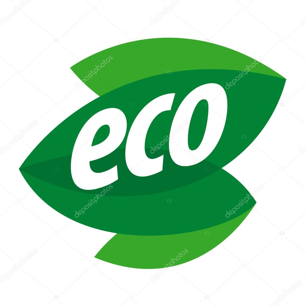 Abstract eco vector logo in the form of leaf