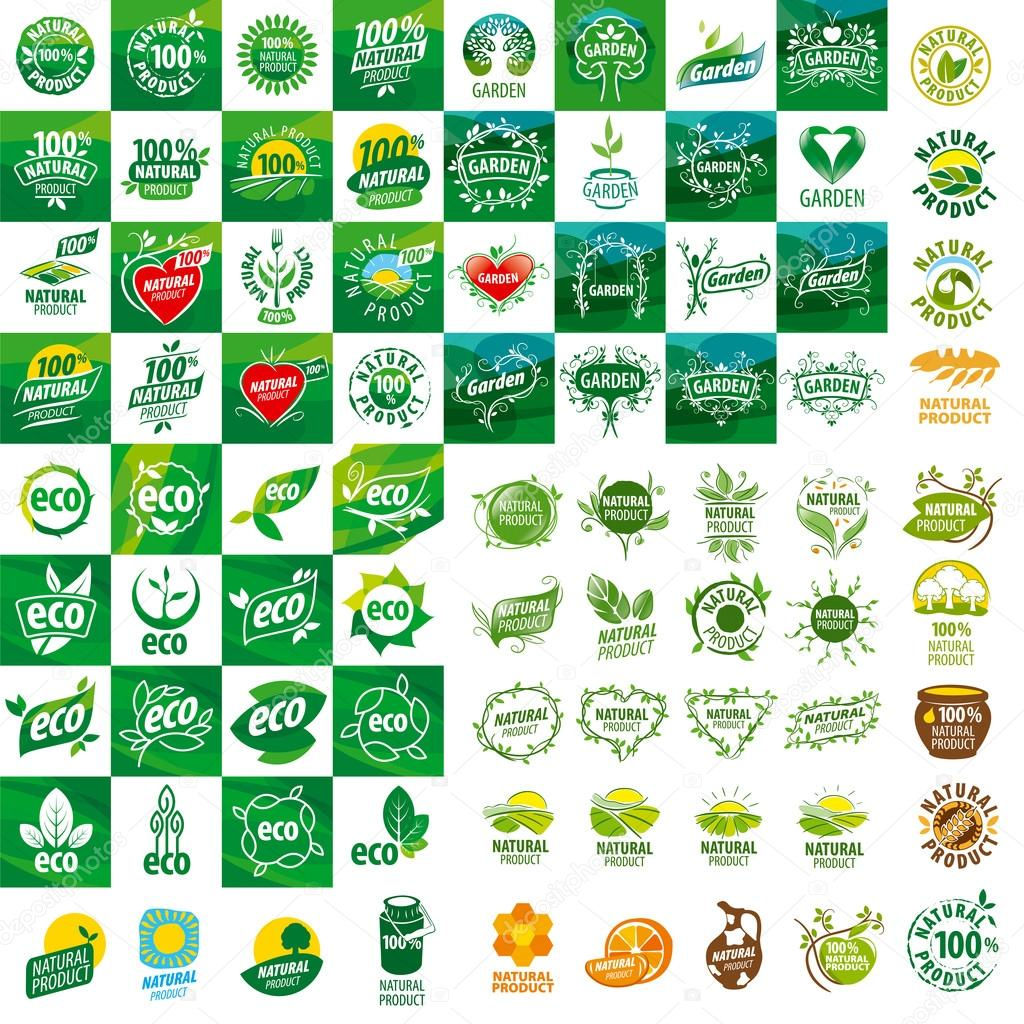 large set of vector logos for natural products