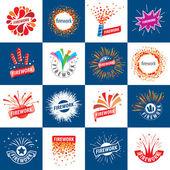 Fotografie set of vector logos for fireworks