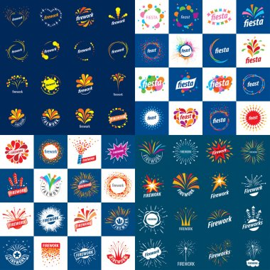 set of vector logos for fireworks