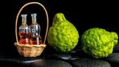 Aromatic spa concept of bergamot fruits and  bottles essential o