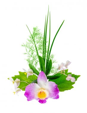 composition of exotic flowers bouquet is isolated on white backg