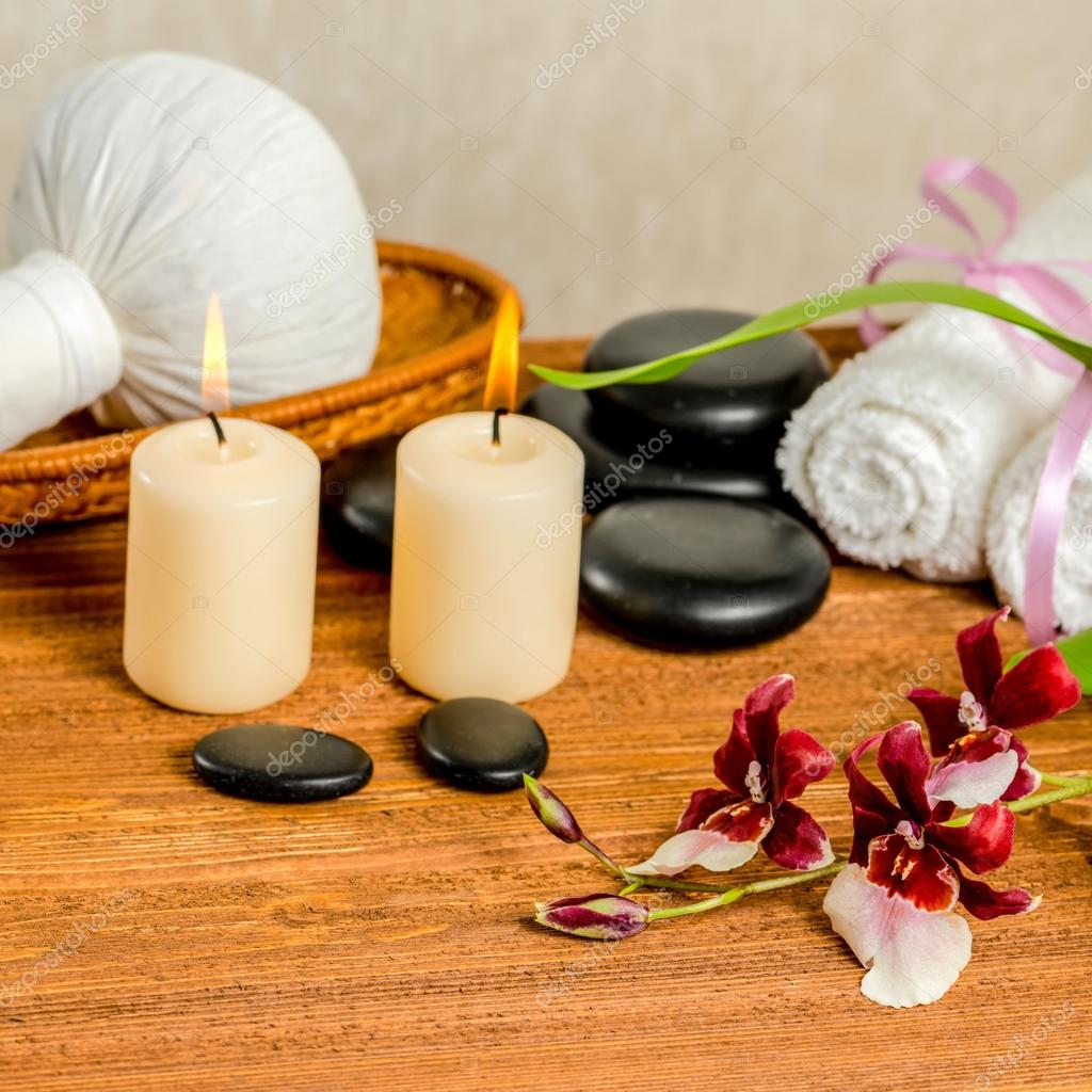spa still life of orchid flower, Cambria, thai herbal compress b