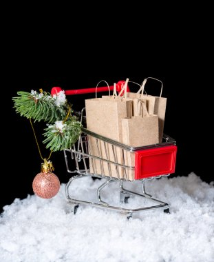 Concept of winter sale. Shopping cart with paper bags and decora
