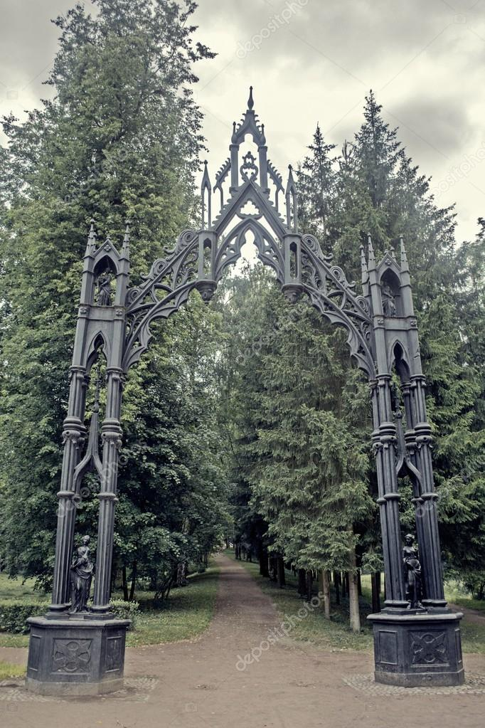 Beautiful gothic iron gates in the Catherine Park