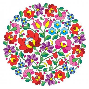 Kalocsai folk art embroidery - Hungarian round floral folk pattern