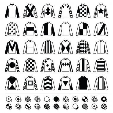 Vector icons set - horse racing jockey uniform plain black designs isolated on white stock vector