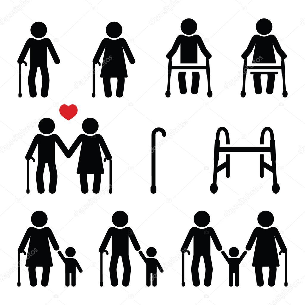 Personas mayores, personas mayores con bastón o marco de Zimmer, los ...
