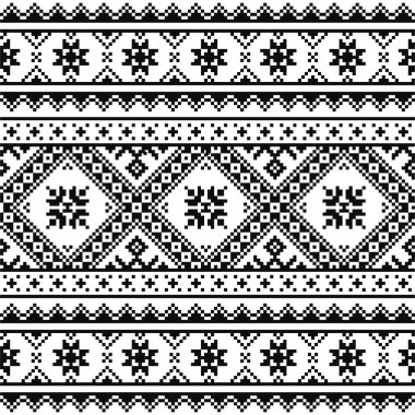Traditional folk knitted black embroidery pattern from Ukraine or Belarus
