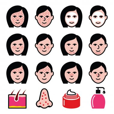Skin problems - acne, spots treatment icons set