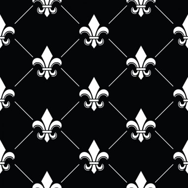 Fleur de lis pattern on black