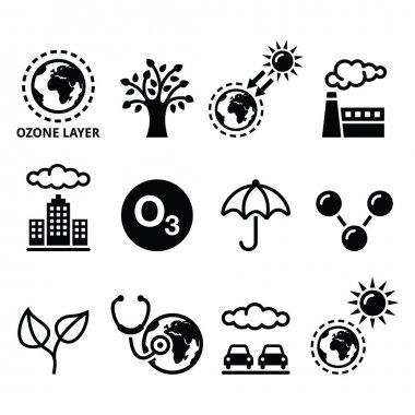 ecology, climate change icons set