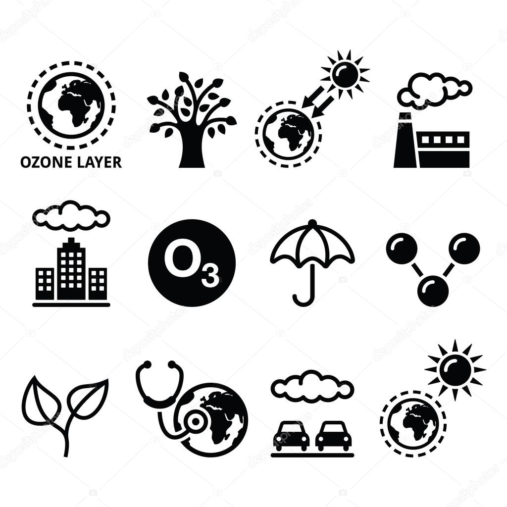 ecology, climate change icons set