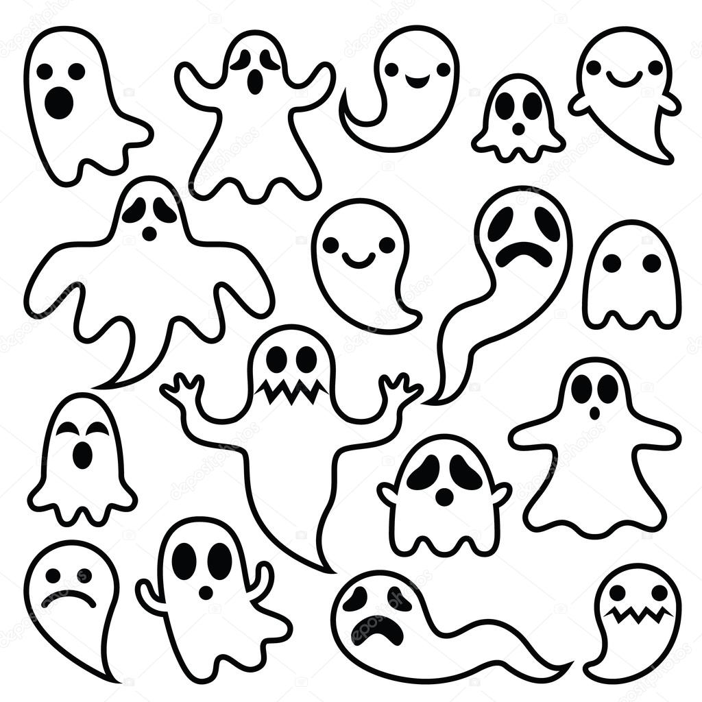 Fantasmas miedo diseo sistema de iconos de personajes de Halloween