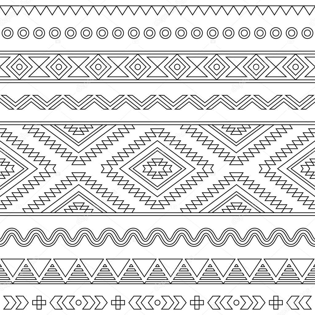 Tribu Azteca negro de trazo de patrones sin fisuras en blanco ...