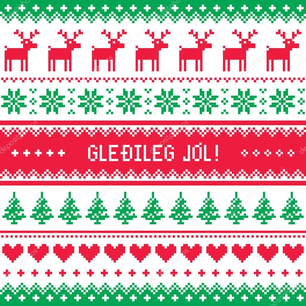 Isländisch Frohe Weihnachten.Gledileg Jol Frohe Weihnachten Im Isländischen Muster Grußkarte
