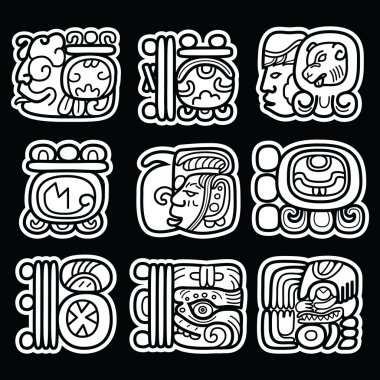 Maya glyphs, writing system and languge vector design  on black background