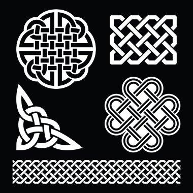 Celtic white knots, braids and patterns on black background - St Patrick's Day