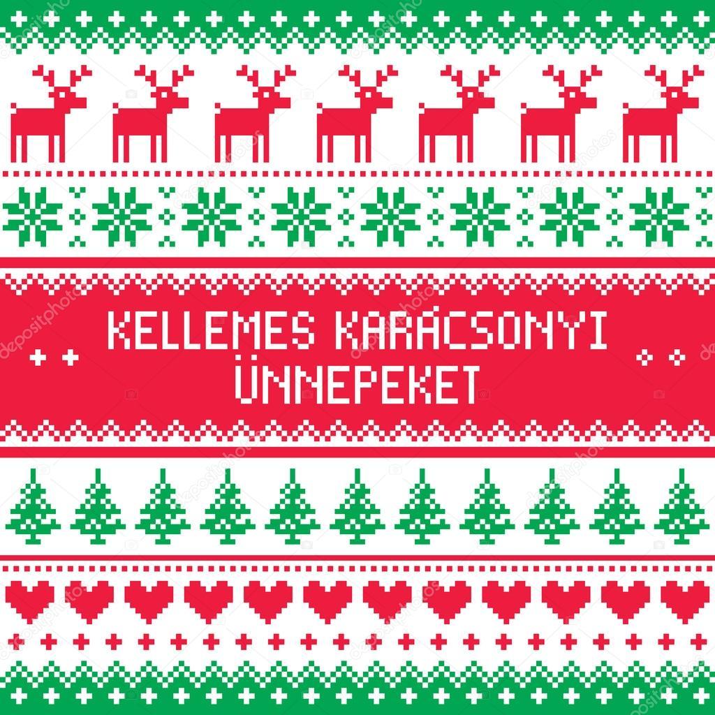 Frohe Weihnachten Ungarisch.Frohe Weihnachten Im Ungarischen Muster Kellemes