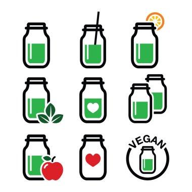 Green shake, green smoothie jar icons set